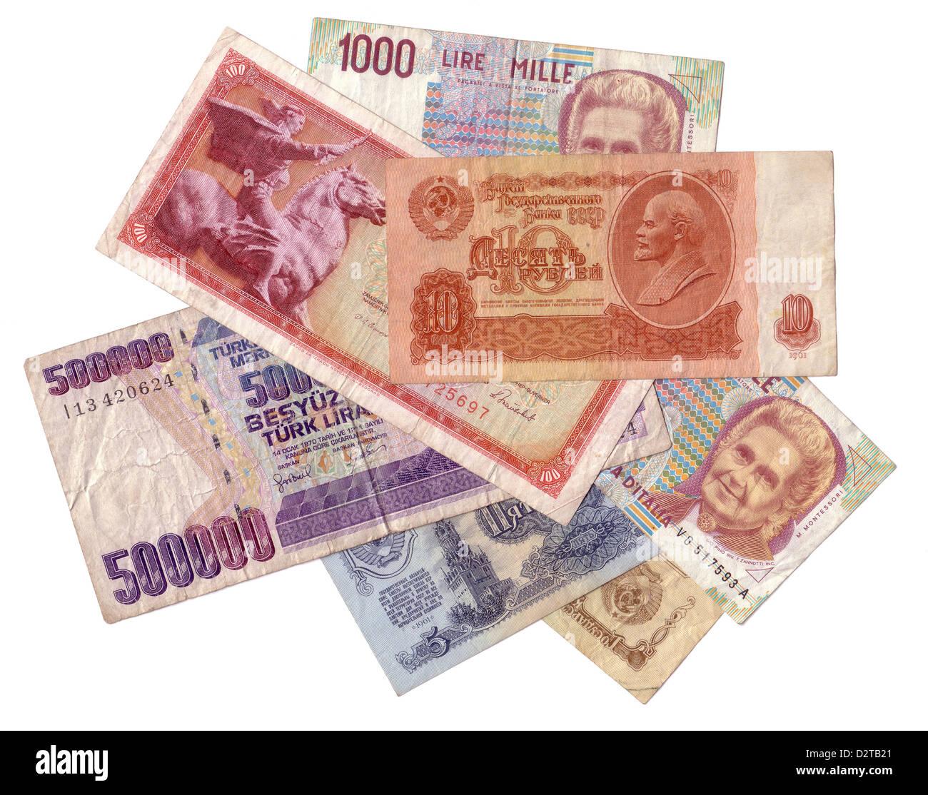 Obsolete money texture isolated - Stock Image