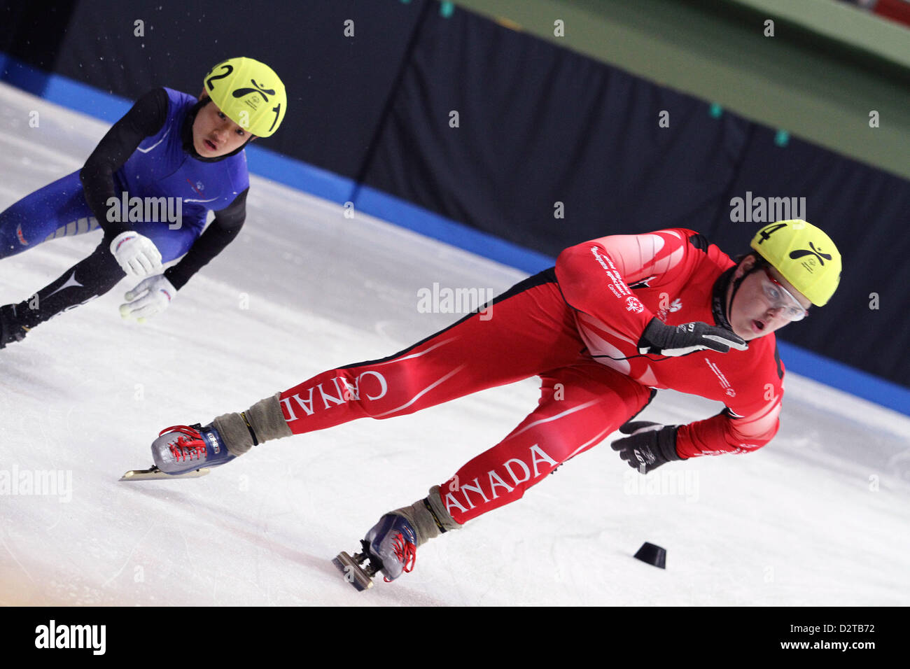 PYEONGCHANG-GUN, SOUTH KOREA - FEBRUARY 1: Athletes  perform during the 3rd day  of the 2013 Pyeongchang Special - Stock Image