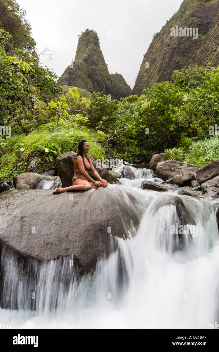 Hawaiian native, Iao Valley, Maui, Hawaii, United States of America, Pacific - Stock Image