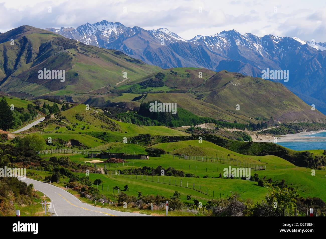 Highway to Milford Sound via Lake Tena Vu, South Island, New Zealand, Pacific - Stock Image