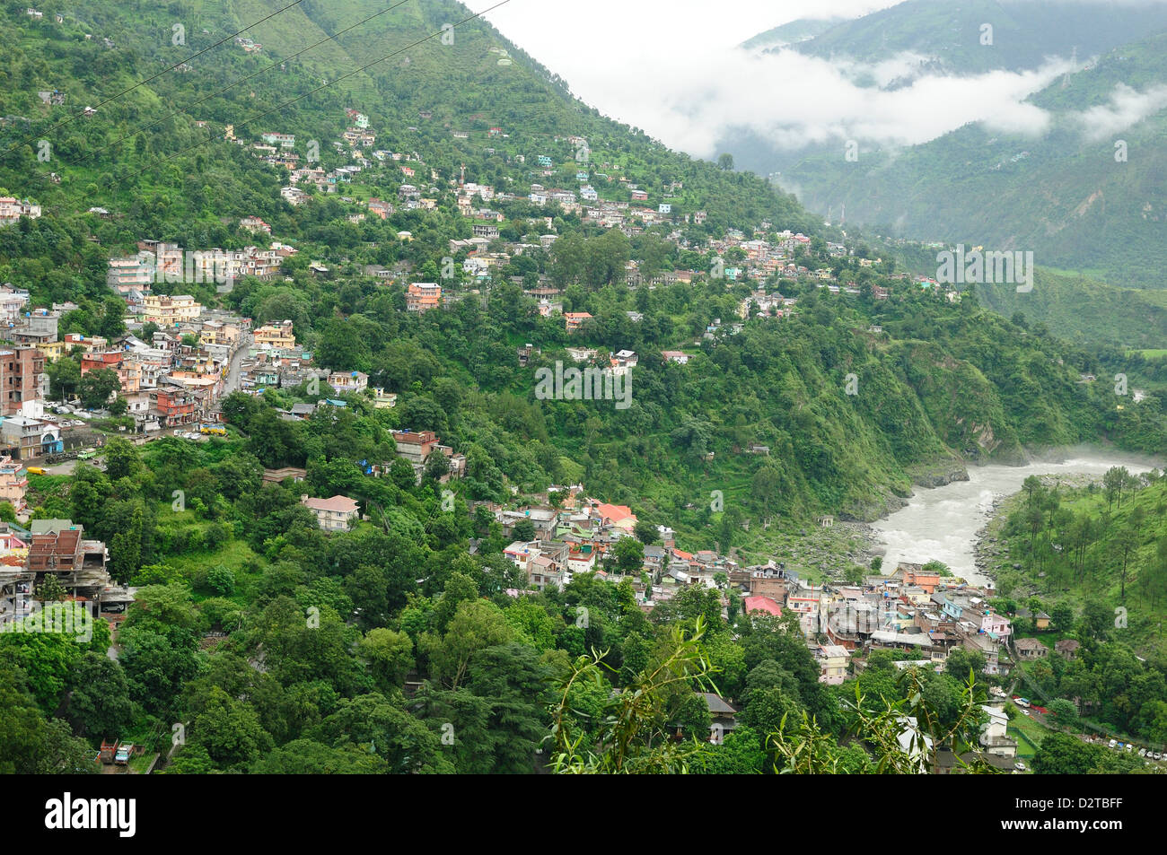 View of Chamba town and Ravi River, Himachal Pradesh, India, Asia - Stock Image