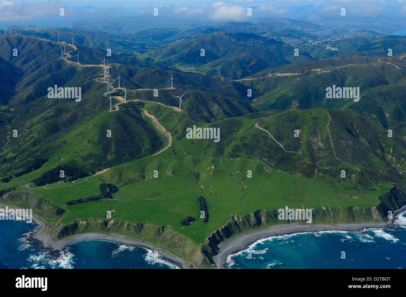 View of Wellington from the air, North Island, New Zealand, Pacific Stock Photo