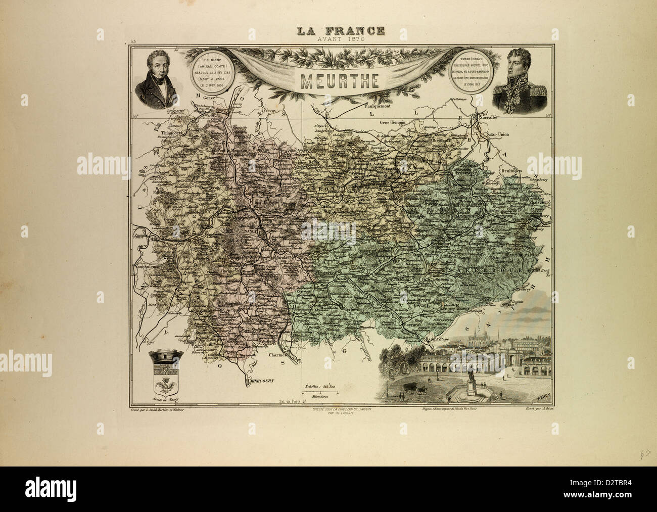 MAP OF MEURTHE 1896 FRANCE - Stock Image