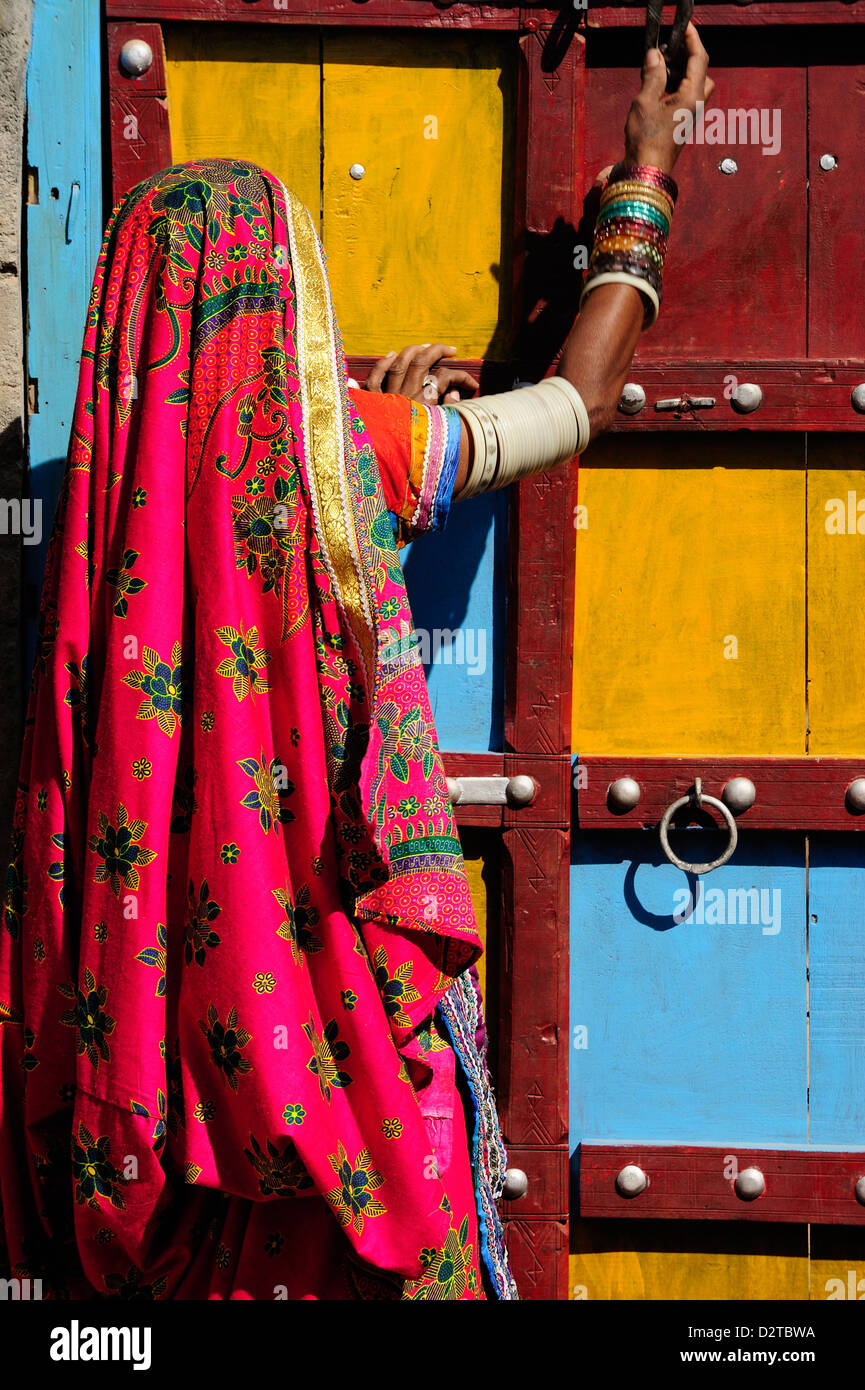 Gujjar women wear colourful dress as part of their daily life, Gujarat, India, Asia - Stock Image