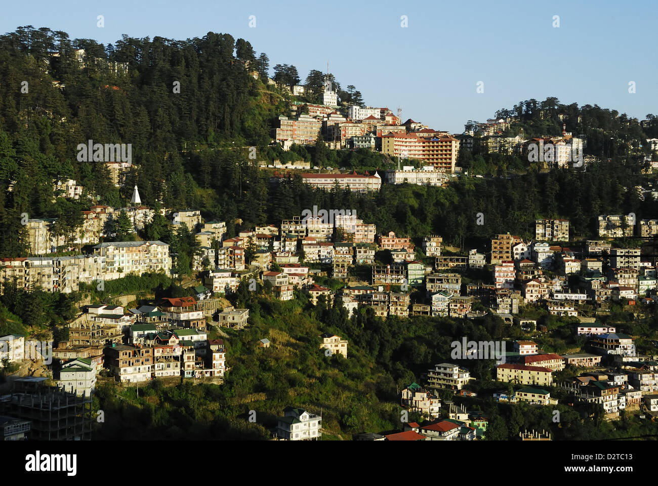 View of Shimla houses, Shimla, Himachal Pradesh, India, Asia - Stock Image