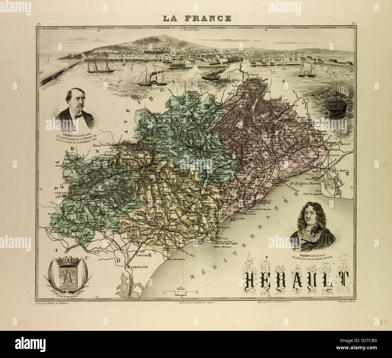 MAP OF HÉRAULT 1896 FRANCE - Stock Image