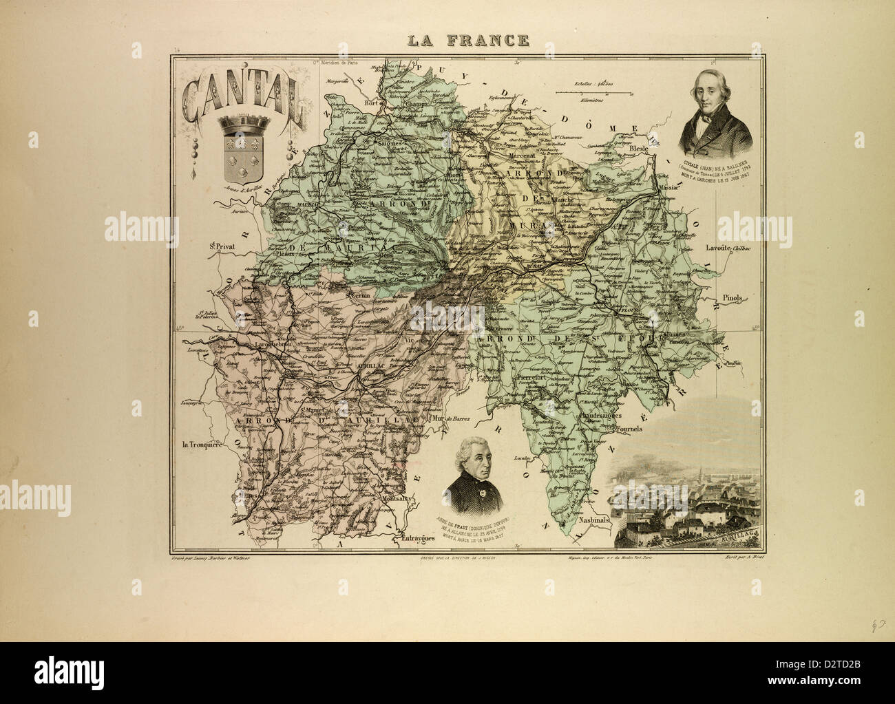 MAP OF CANTAL 1896 FRANCE - Stock Image