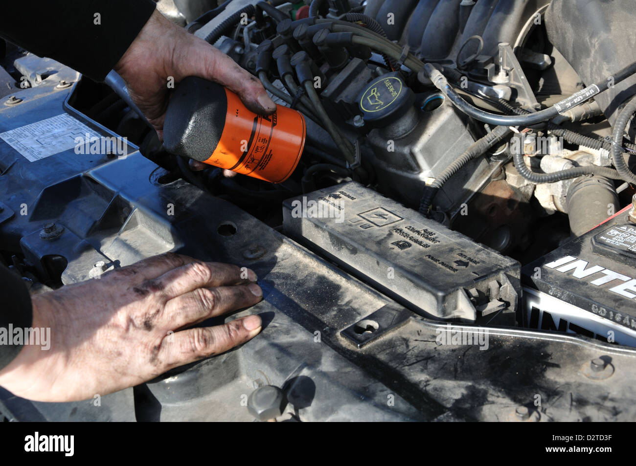 Oil Filter Change >> Man Working On His Car Changing Oil Filter Stock Photo