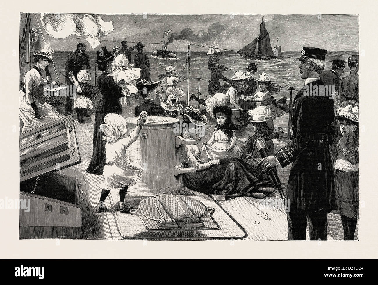 AN INVASION OF A MAN-OF-WAR: THE NAVAL MANOEUVRES: VISITING DAY - Stock Image