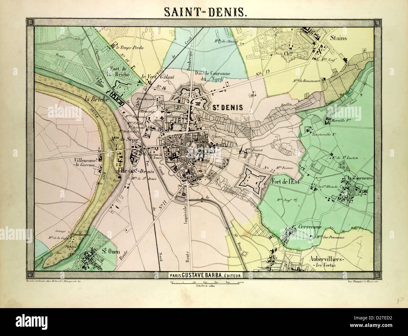 Saint Denis France Map.Map Of Saint Denis France Stock Photo 53398606 Alamy