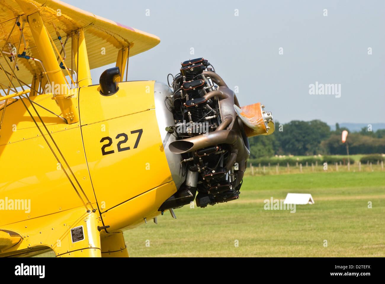 Front of  Stearman bi-plane - Stock Image