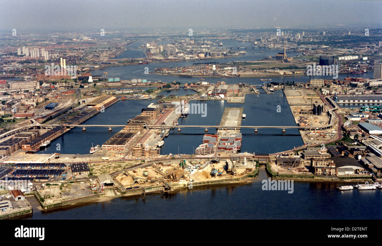Rare aerial view of Docklands & West India Dock before Canary Wharf development in East London - June 1986. - Stock Image