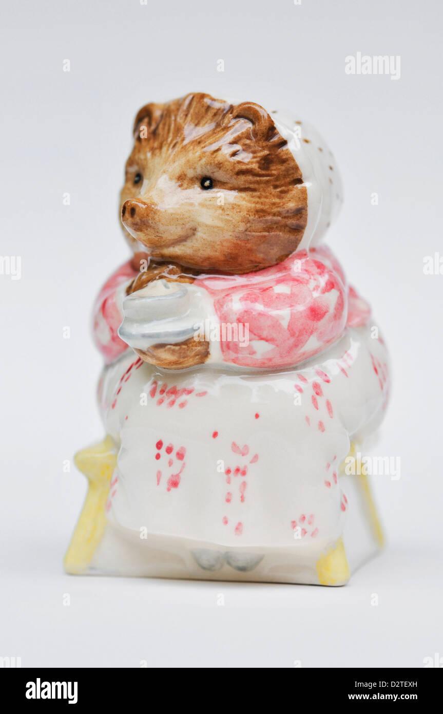 Mrs. Tiggy Winkle Takes Tea - Beatrix Potter Royal Doulton figurine - Stock Image