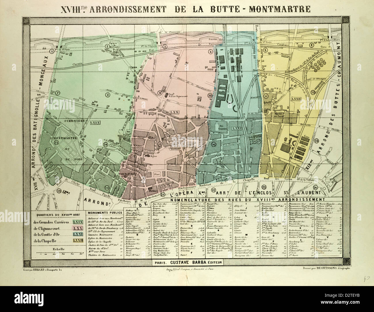 Map Of 18th Arrondissement De La Butte Montmartre Paris France Stock