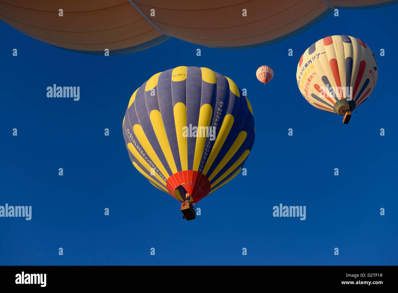 View of overhead hot air balloons and flame from propane heater in Cappadocia Turkey - Stock Image
