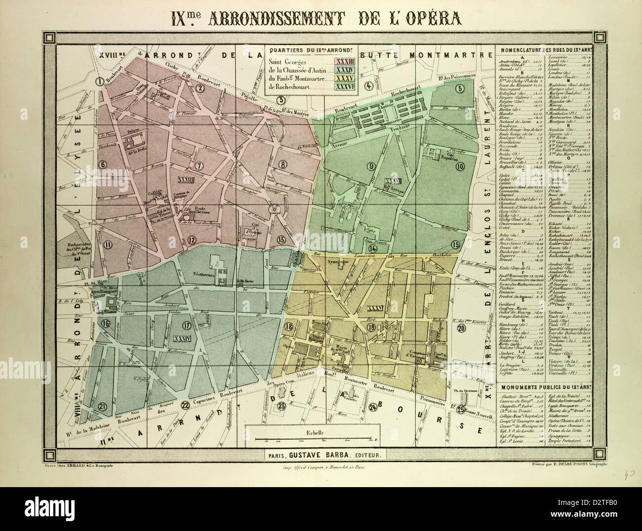 MAP OF THE 9TH ARRONDISSEMENT DE L'OPÉRA PARIS FRANCE - Stock Image