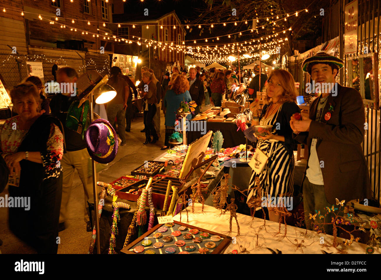 nightime art market frenchman street new orleans - Stock Image