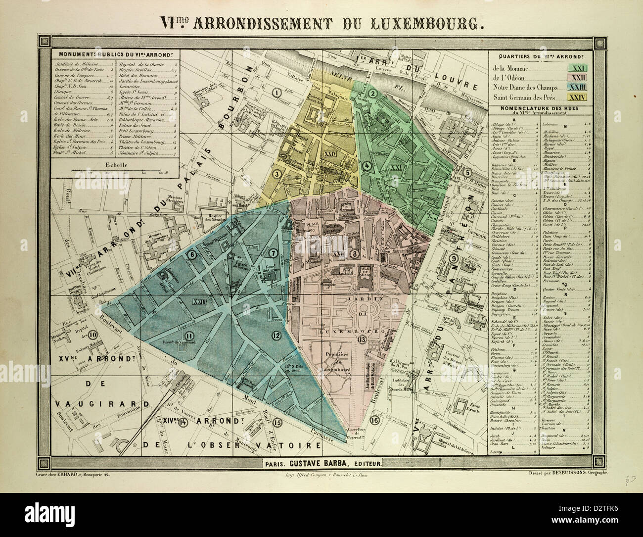Map Of Paris France 6th Arrondissement.Map Of The 6th Arrondissement Du Luxembourg Paris France Stock Photo
