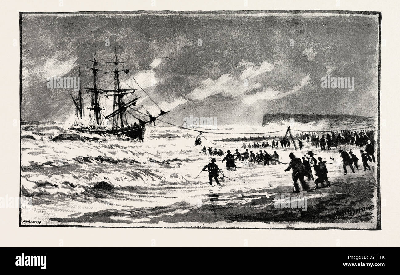 THE STORM ON THE SOUTH COAST, THE WRECK OF THE BARQUE 'T.P. FLUGER,' OFF ST. LEONARDS - Stock Image
