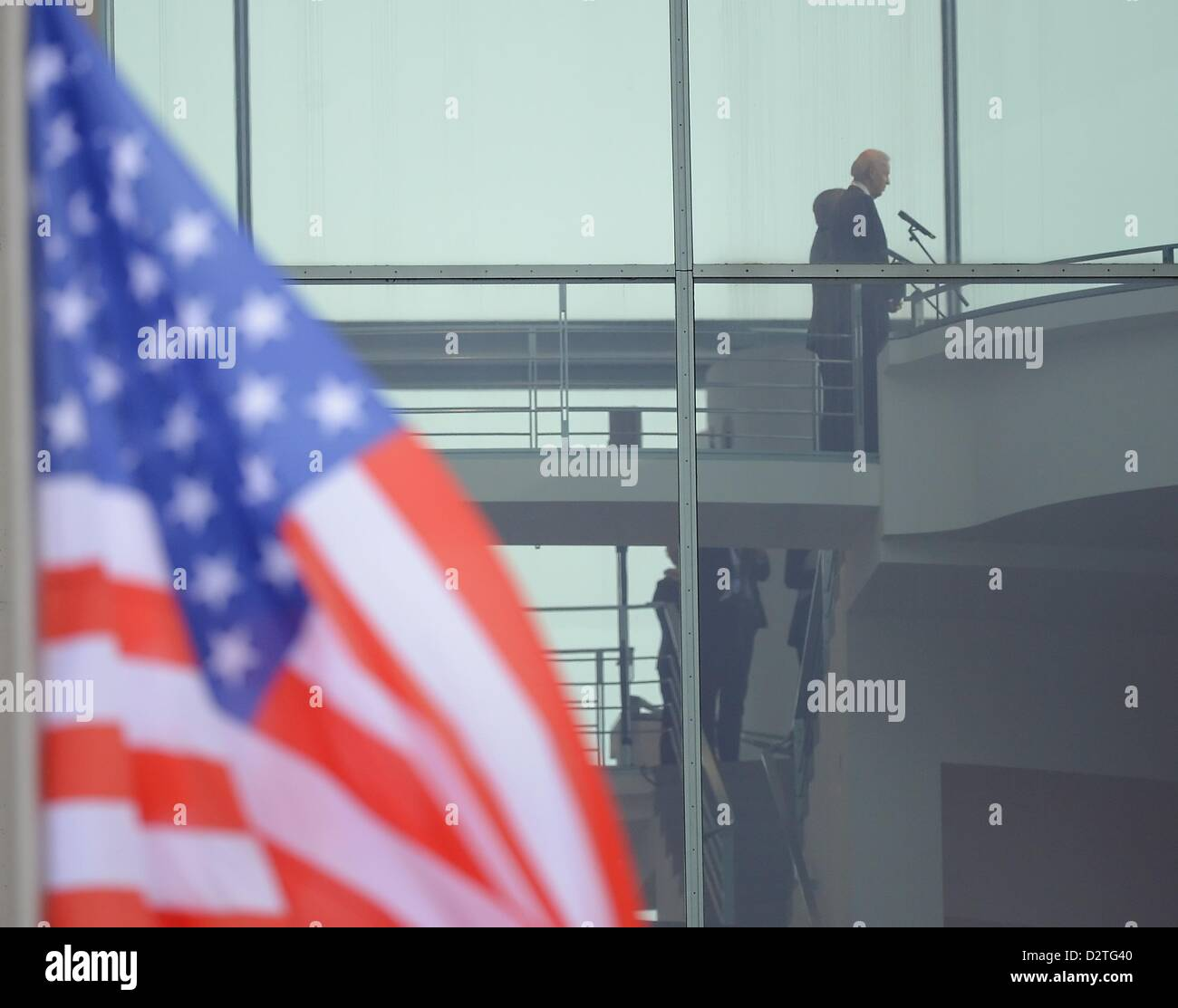German Chancellor Angela Merkel (CDU) receives US Vice President Joe Biden at the Federal Chancellery in Berlin, Stock Photo
