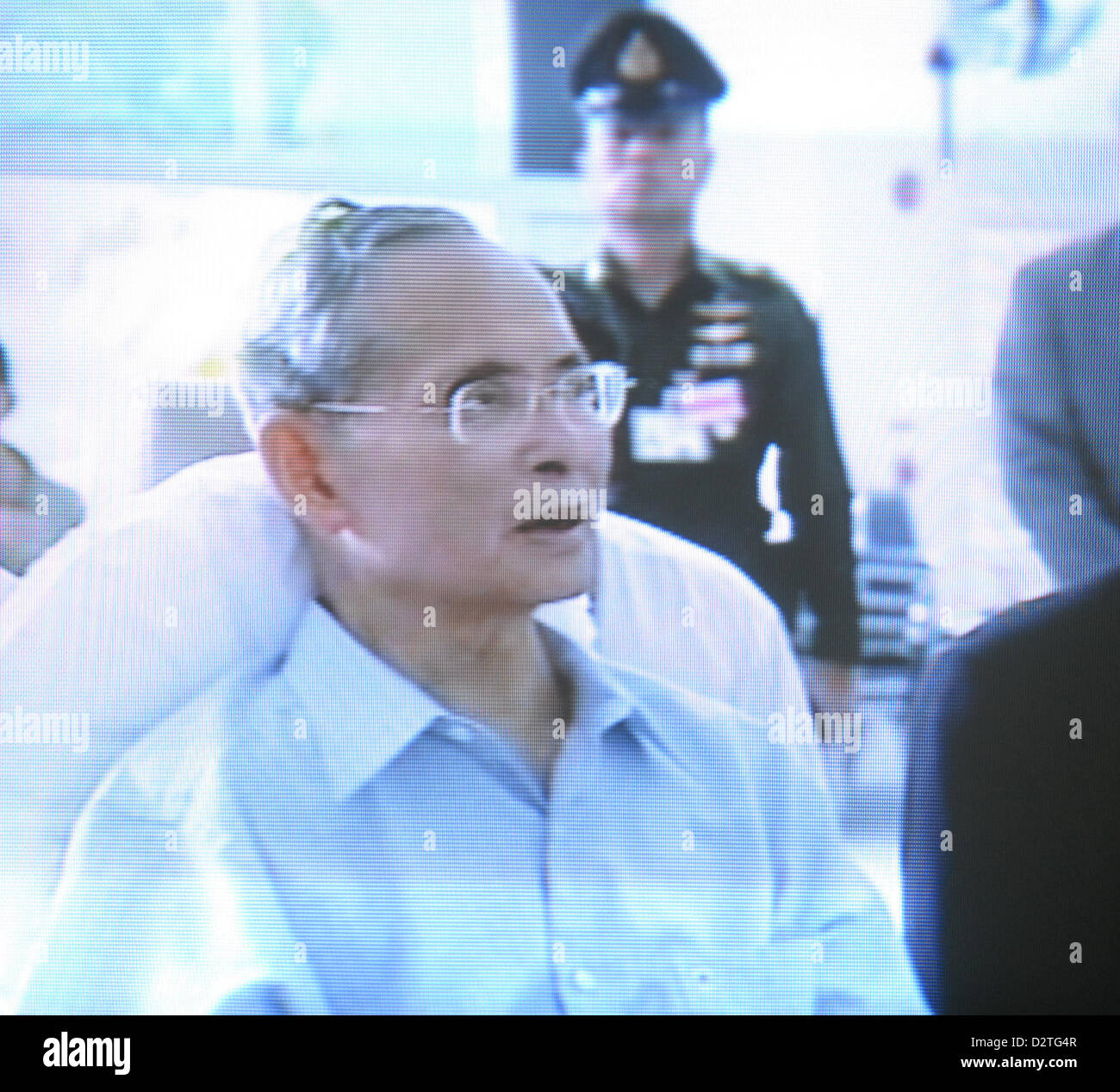 TV grab. Thailand's revered 81-year-old King Bhumibol Adulyadej makes his first public appearance on October - Stock Image