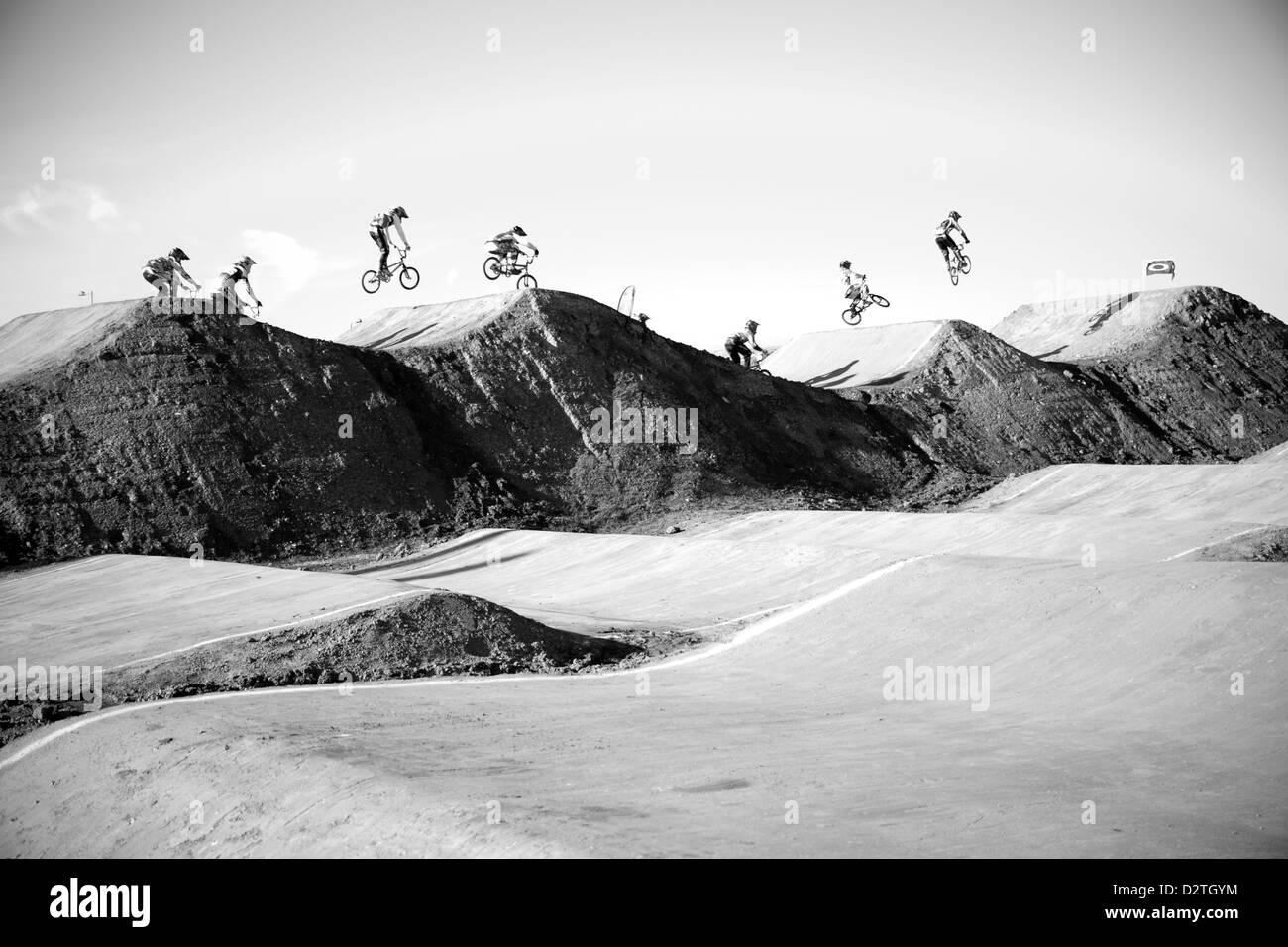 bmx track race at olypics park london - Stock Image