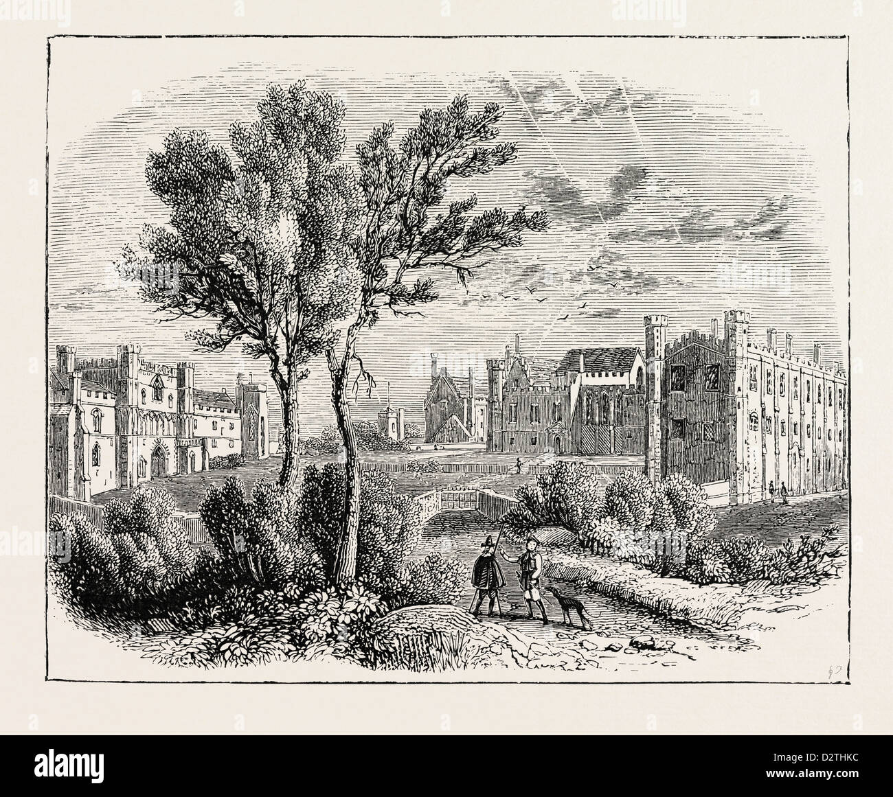 BATTLE ABBEY IN THE 17TH CENTURY. - Stock Image