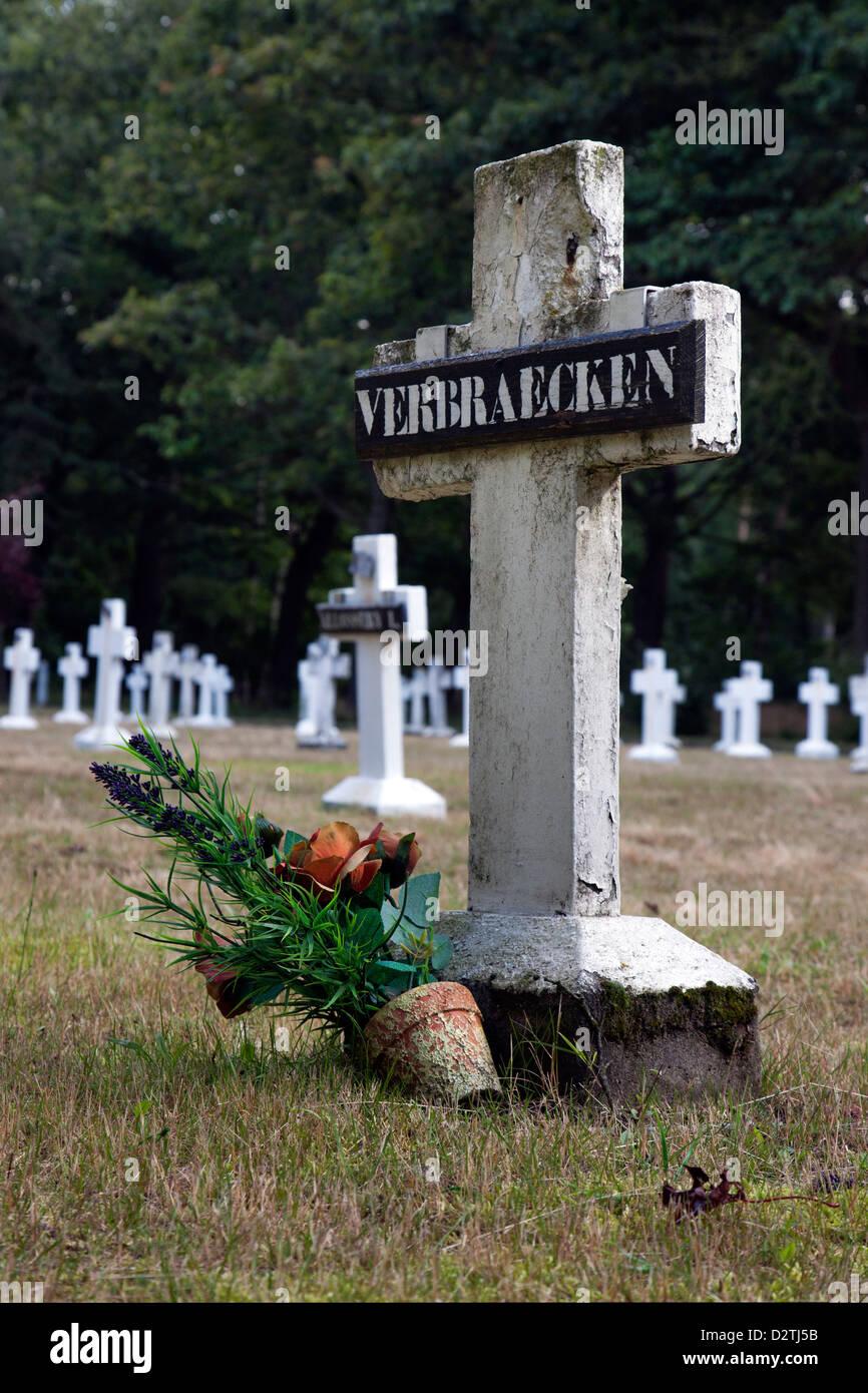 Graves at cemetery of former vagabond colony in Wortel, Antwerp, Belgium - Stock Image
