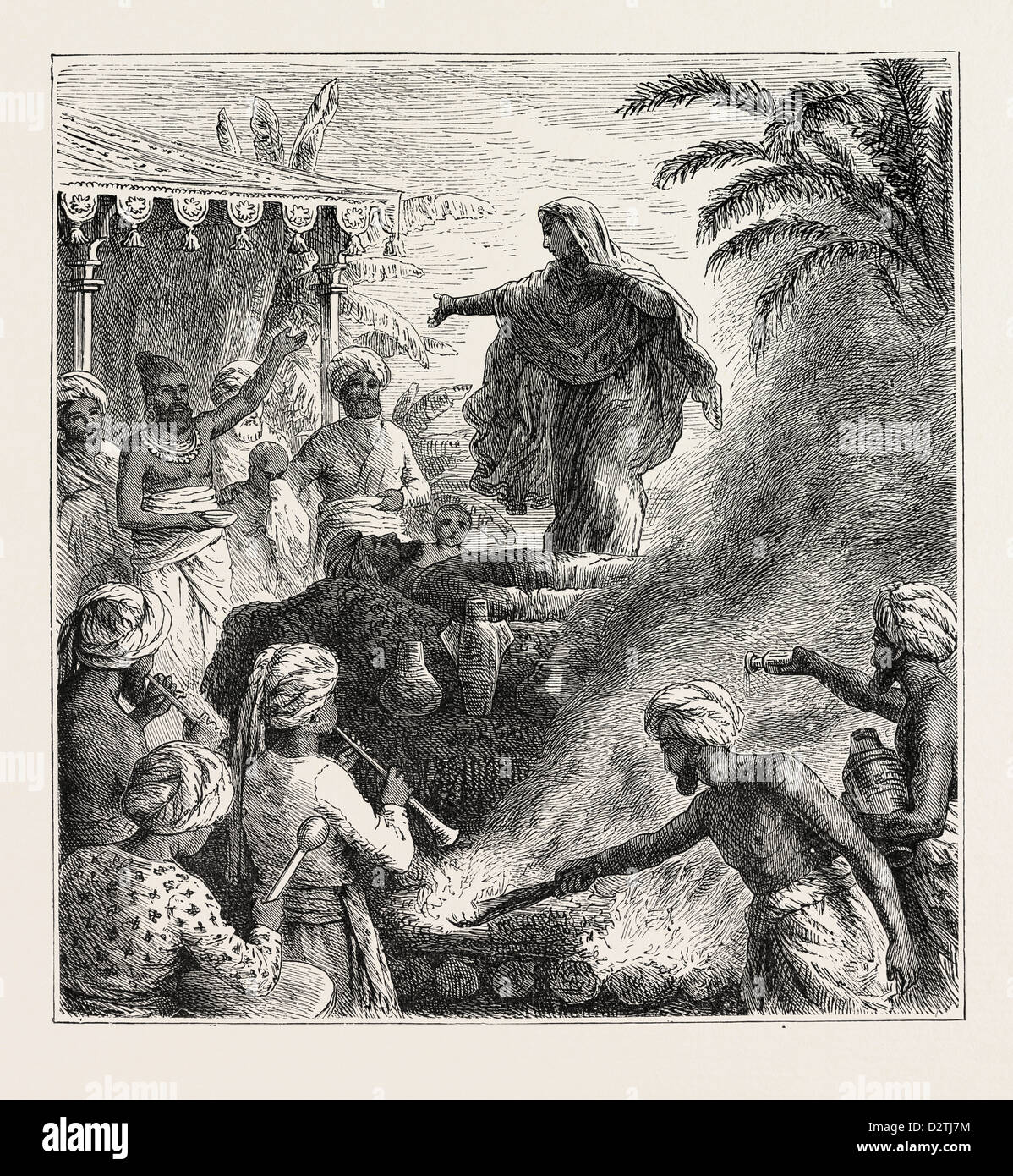 HINDOO RITE OF SUTTEE. THE WIDOW BURNT WITH HER HUSBAND'S CORPSE. - Stock Image
