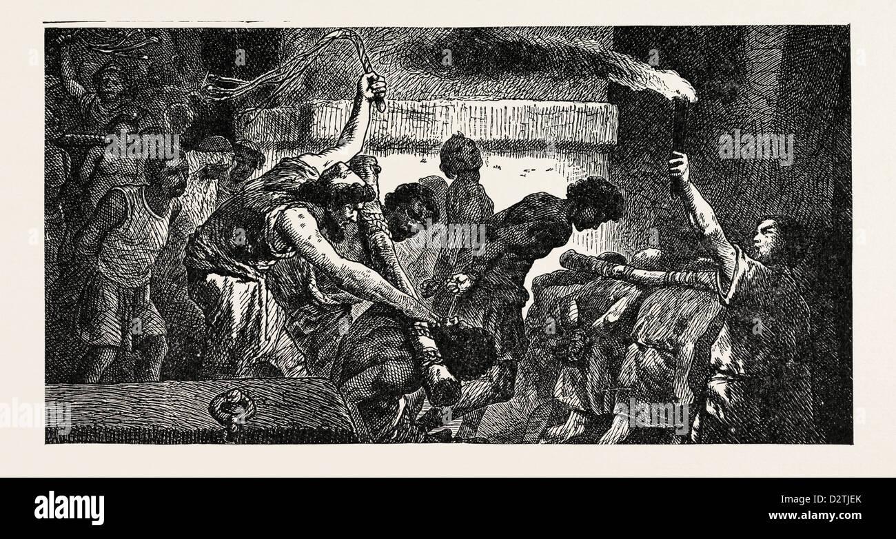 CAPTURED SLAVES CAST INTO PRISON. - Stock Image