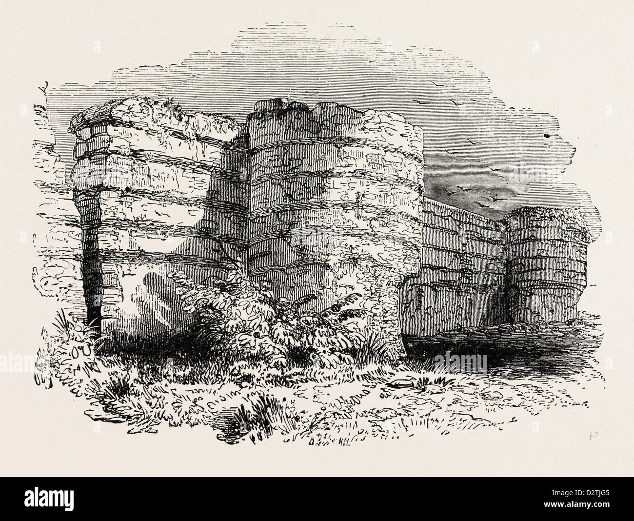 ROMAN MASONRY REMAINS OF FORTRESS WALLS IN BRITAIN. - Stock Image