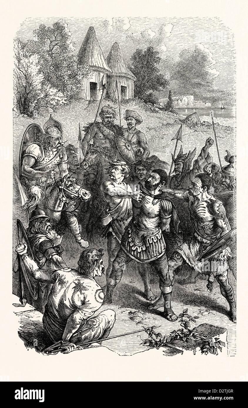 ROMAN CENTURION CAPTURED BY BRITISH WARRIORS. - Stock Image