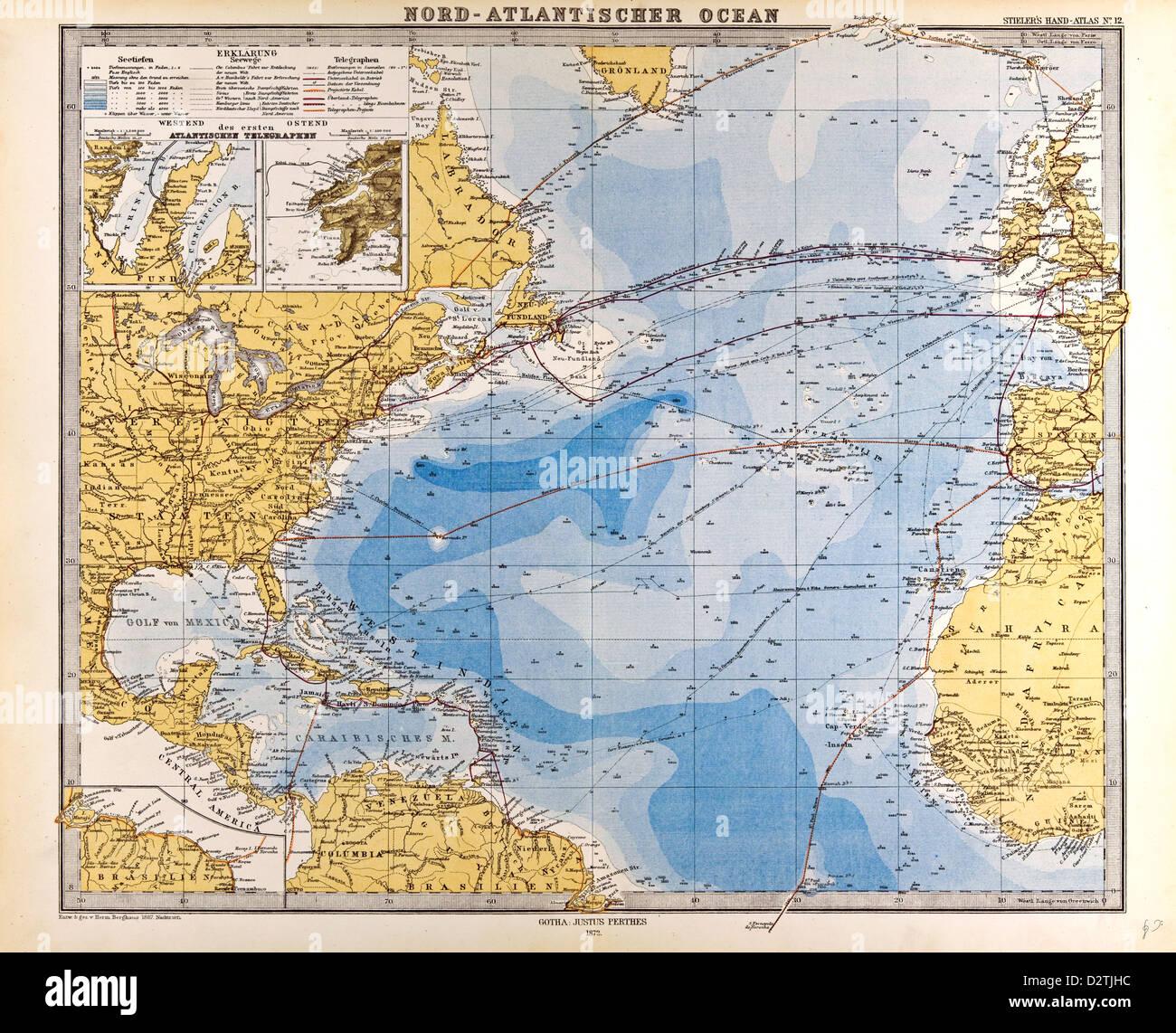North Atlantic Ocean Map Stock Photos North Atlantic Ocean Map