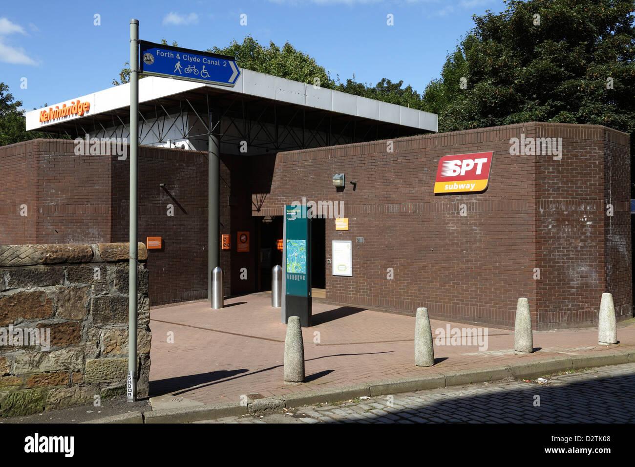 Entrance to Kelvinbridge Subway Station from South Woodside Road in the West End of Glasgow, Scotland, UK - Stock Image