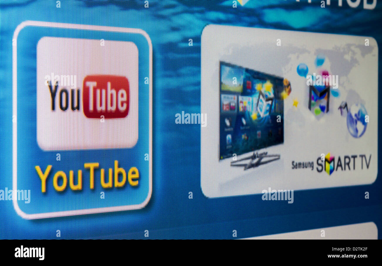 YouTube app icon on a Tv screen. YouTube is the World's most acknowledged video sharing site, established in - Stock Image