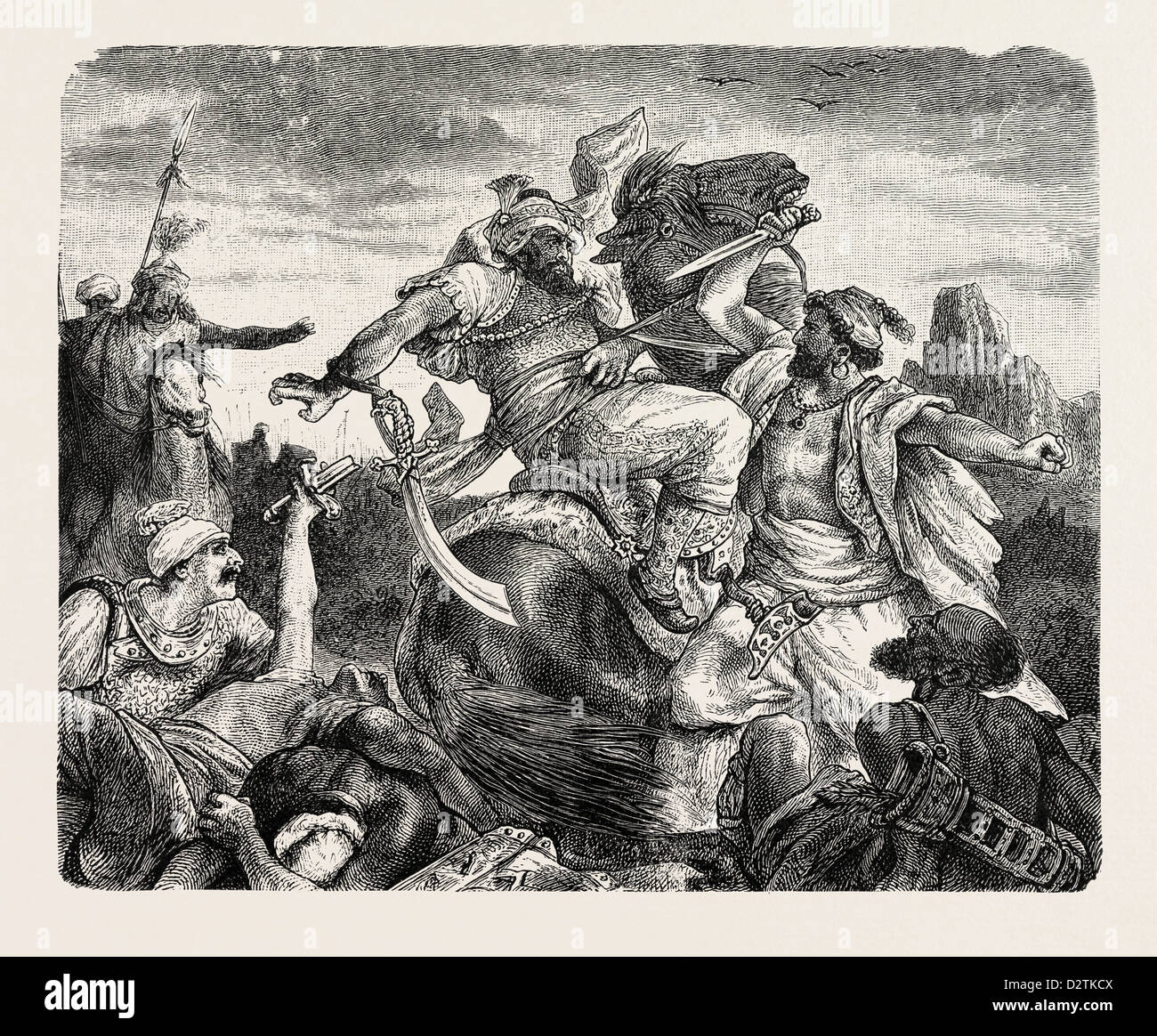 BATTLE OF THE CALIPH OMAR AGAINST THE SASSANIDES - Stock Image