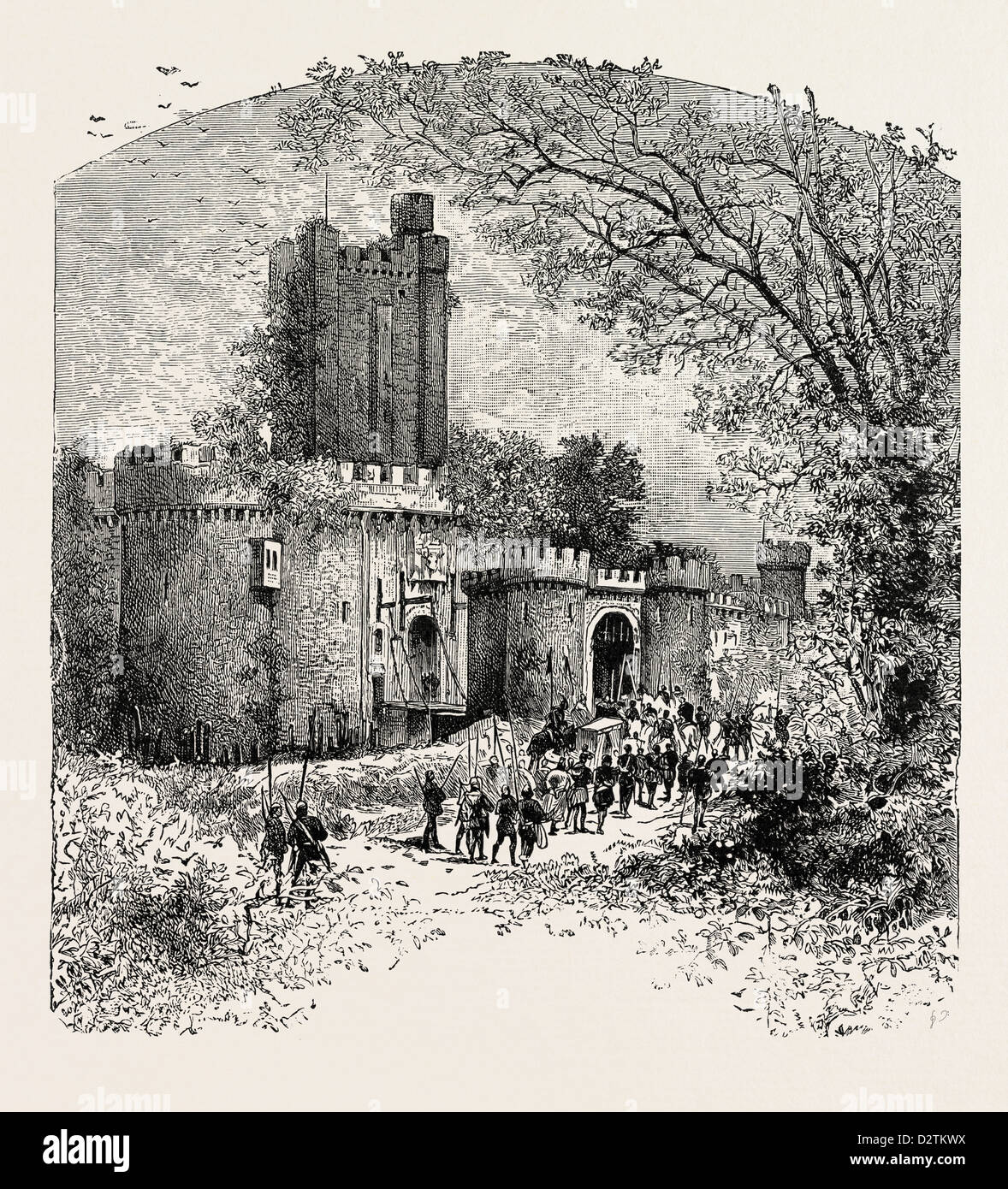 FEUDAL CASTLE IN THE ELEVENTH CENTURY. - Stock Image