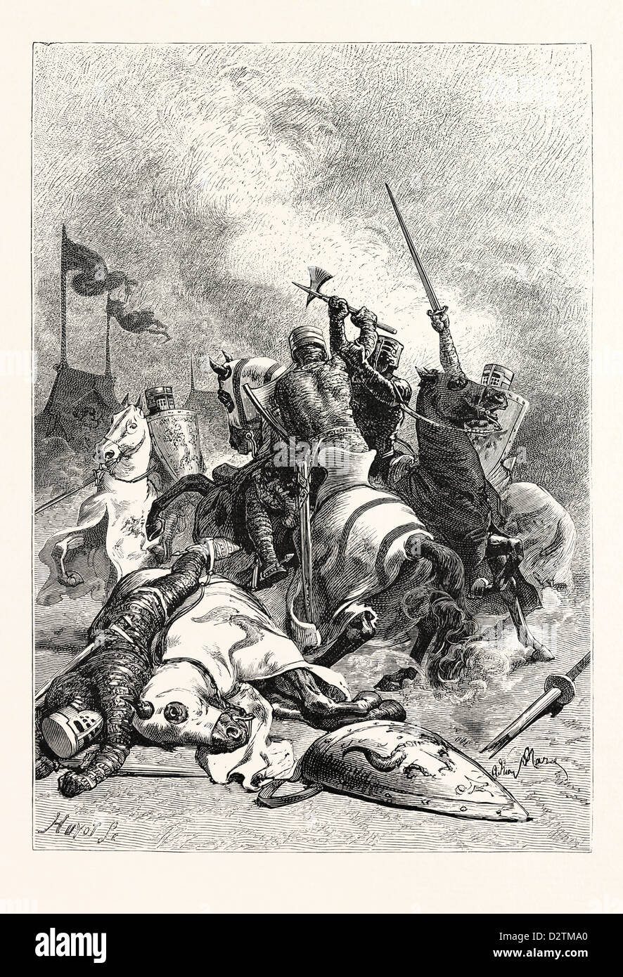 COMBAT OF NORMAN KNIGHTS. - Stock Image