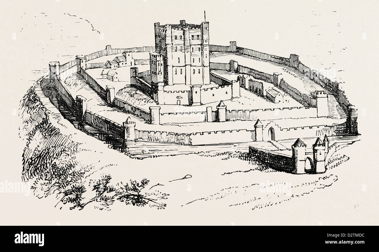 FEUDAL CASTLE OF THE TIME OF HENRY II. - Stock Image
