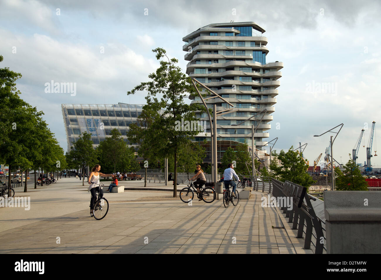 Hamburg, Germany, Marco Polo Tower and the Unilever building in HafenCity Stock Photo