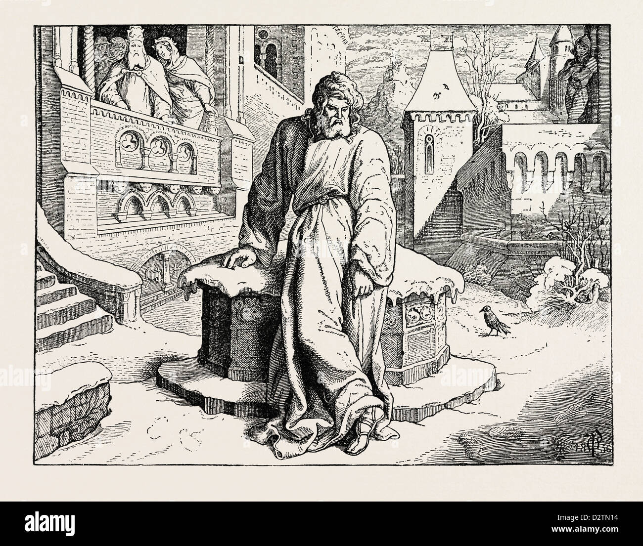 HENRY IV. IN THE COURTYARD OF THE POPE AT CANOSSA. - Stock Image