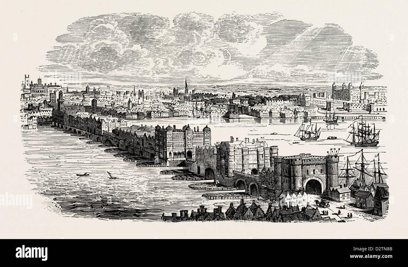 OLD LONDON BRIDGE IN THE SIXTEENTH CENTURY - Stock Image