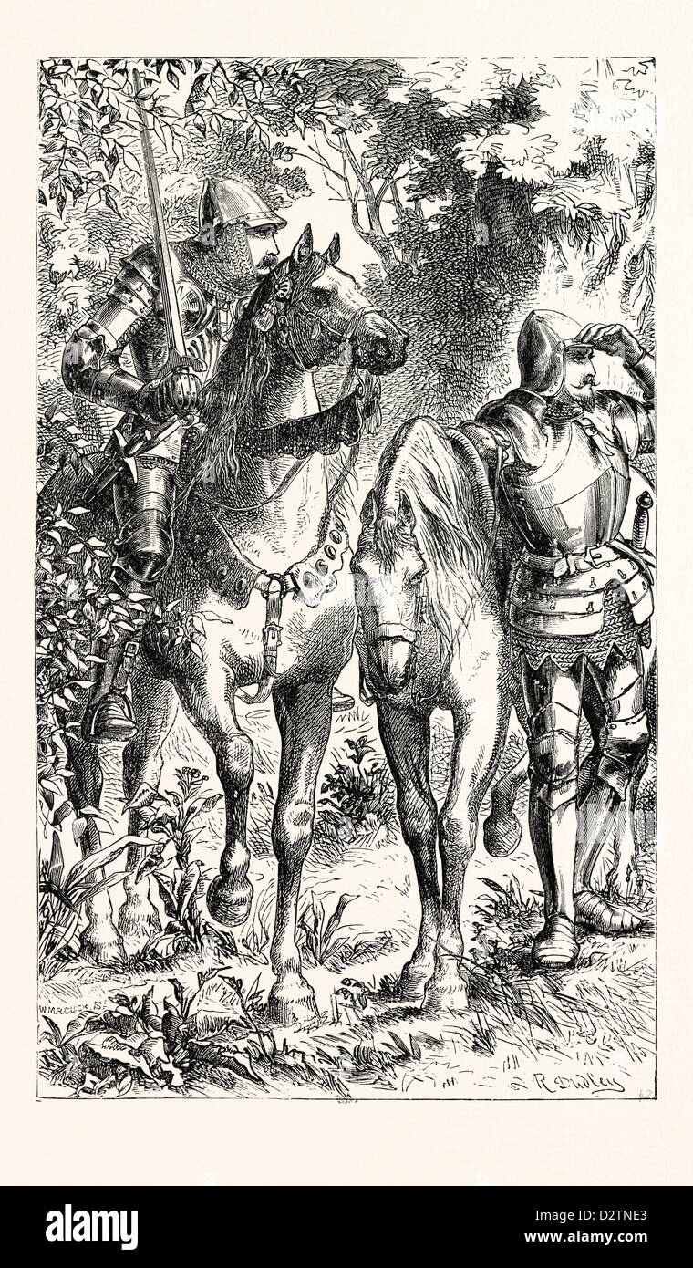 ARMED WARRIORS OF THE FOURTEENTH CENTURY. - Stock Image