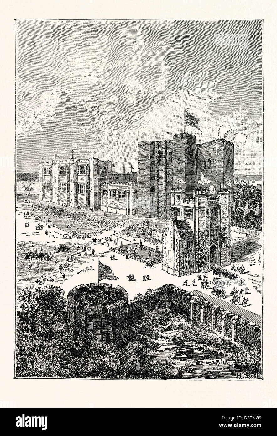 KENILWORTH CASTLE IN THE SIXTEENTH CENTURY. - Stock Image