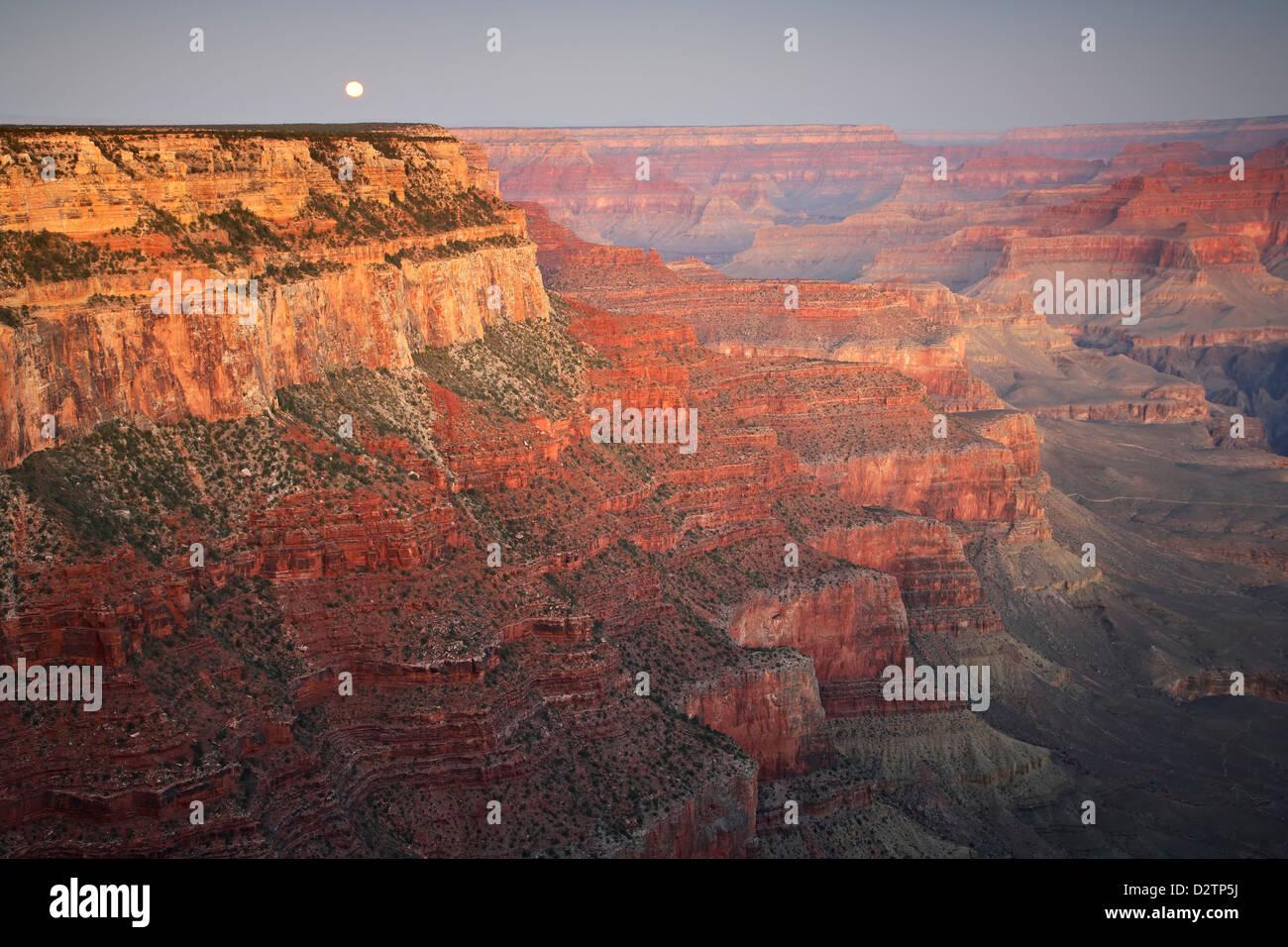 Moon and Grand Canyon, Grand Canyon National Park, Arizona USA - Stock Image