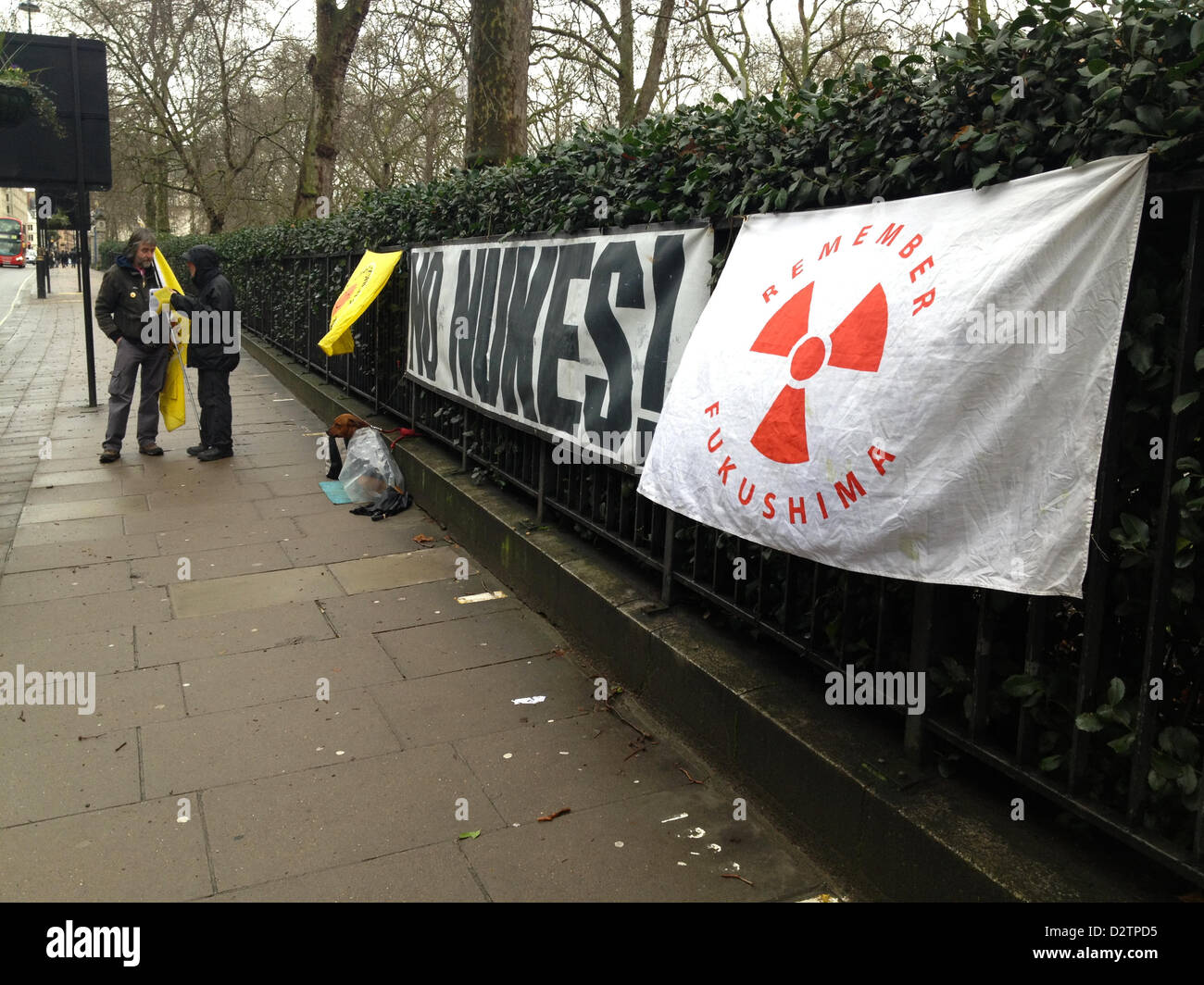 London, UK, 1st February 2013. Anti nuclear power demonstration in front of the Japanese embassy on Piccadilly. - Stock Image