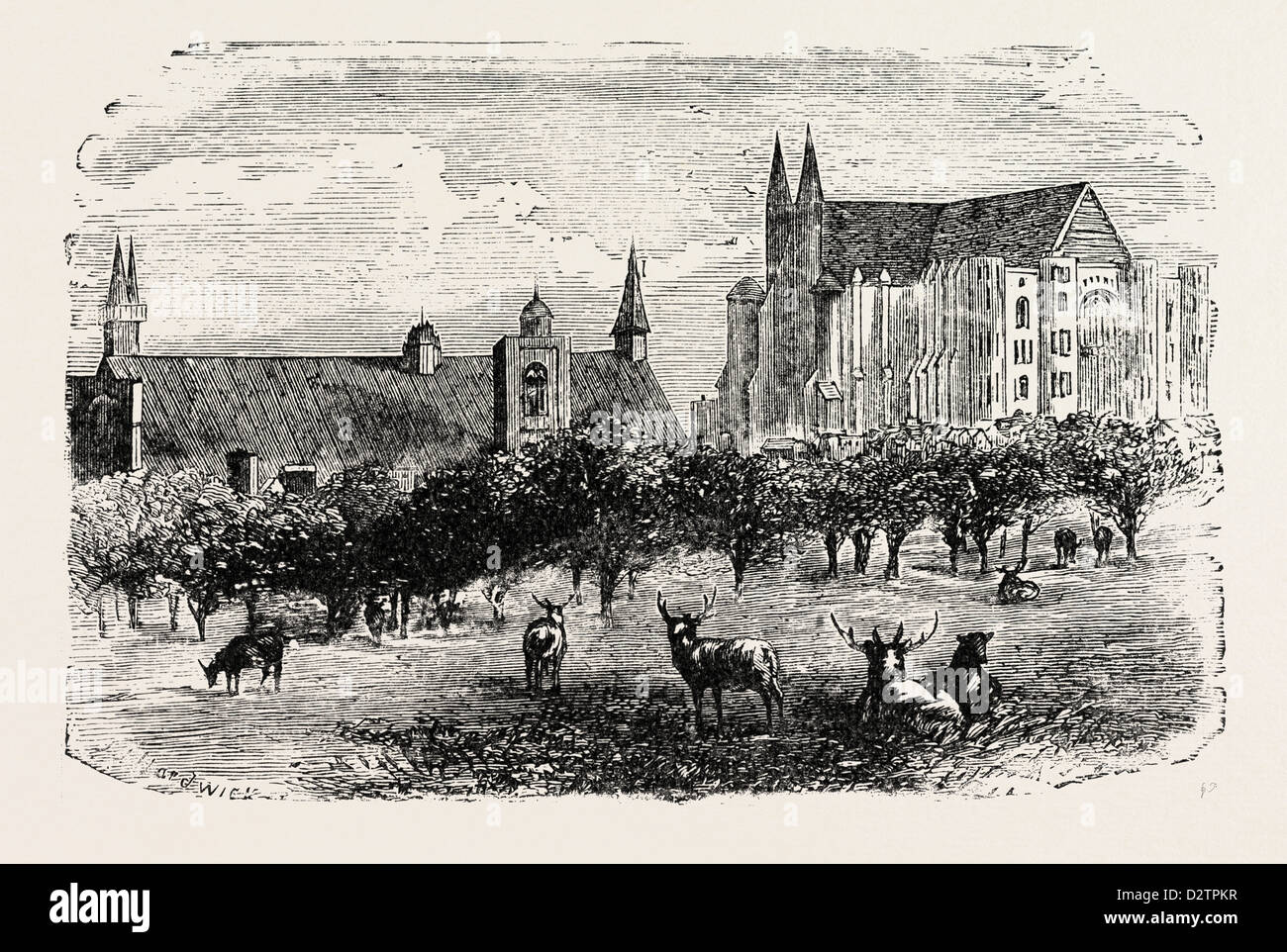 WESTMINSTER ABBEY AND HALL IN THE 15TH CENTURY. - Stock Image