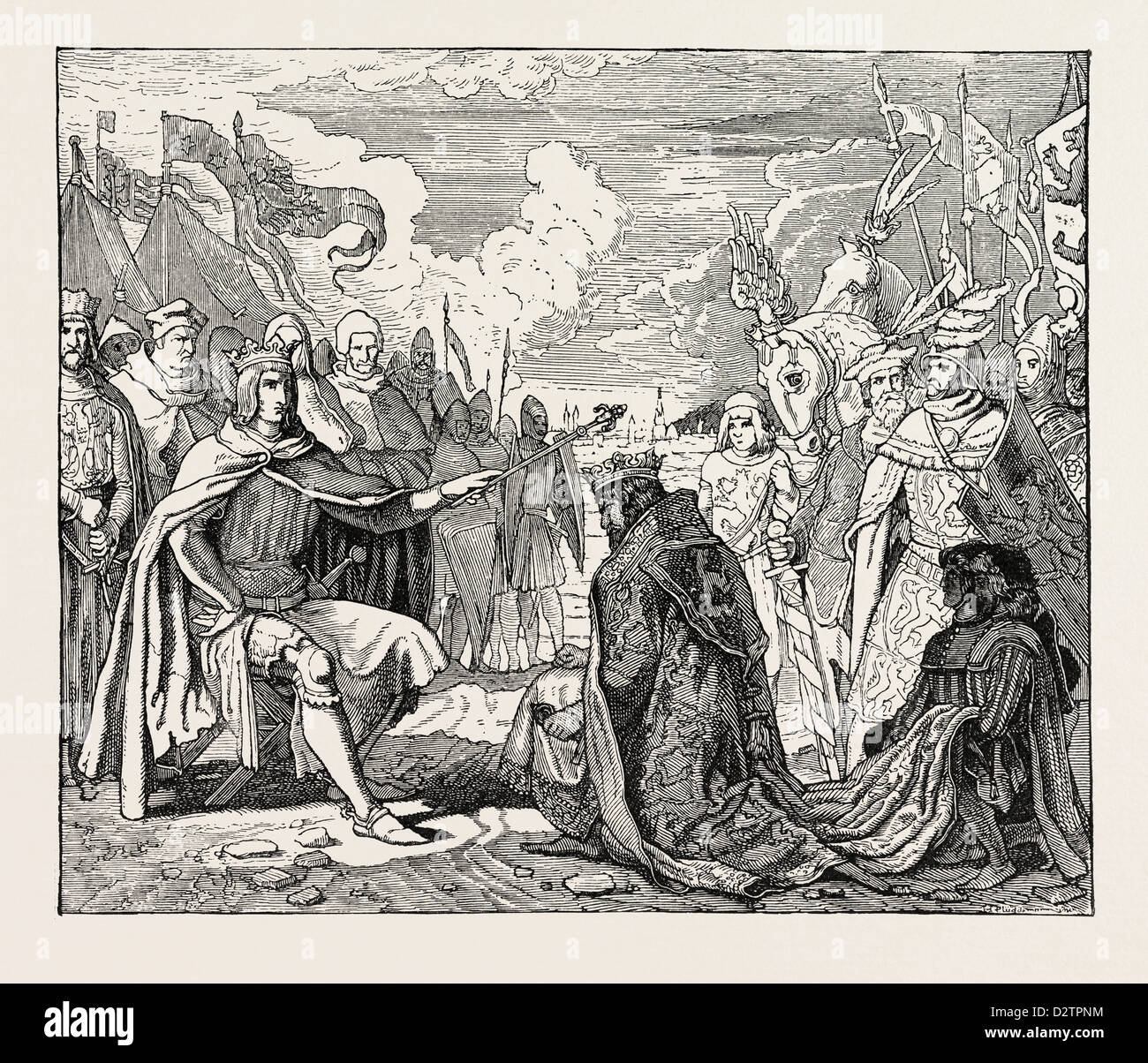 SUBMISSION OF OTTOKAR TO RUDOLF OF HABSBURG. - Stock Image