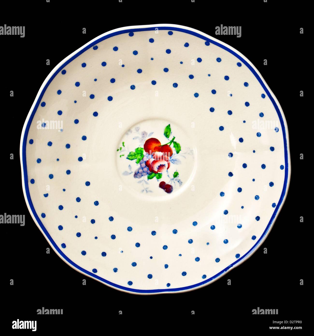 1930's Copeland Spode 'Polka Dot' plate/ saucer - Stock Image