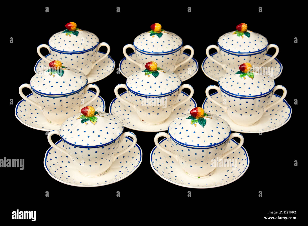 Set of 1930's Copeland Spode 'Polka Dot' covered drinking chocolate cups and saucers - Stock Image